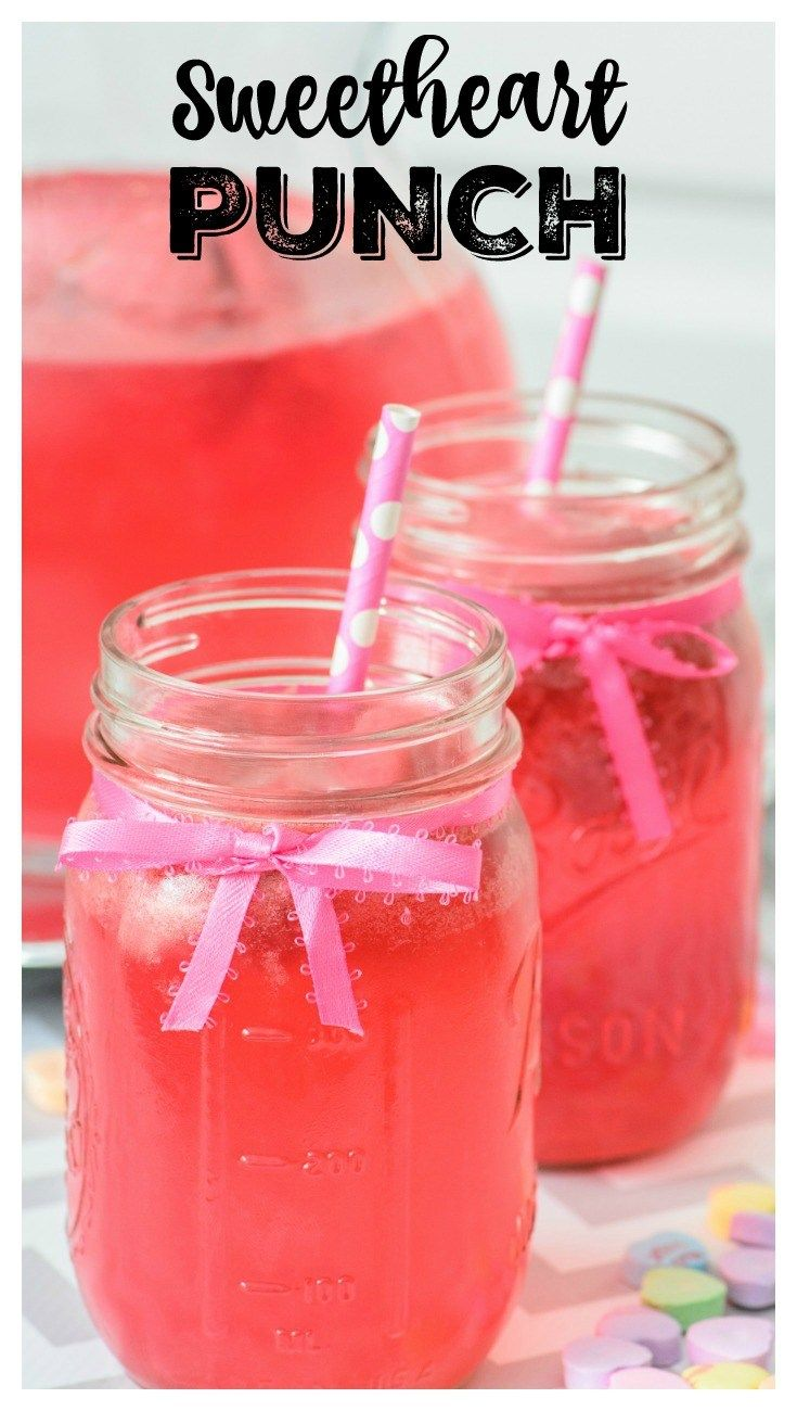 Sweetheart Punch Drink Recipe - Whether you are hosting a Valentine's Day party for the kids, adults, or both, this easy to make Sweetheart Punch will be the hit of the party. It's non-alcoholic, but could easily be made with vodka in place of some of the soda if you wanted an alcoholic version.