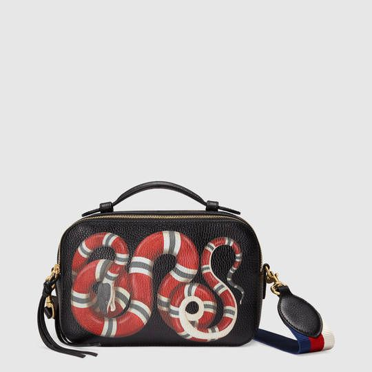 Gucci Snake print leather top handle bag