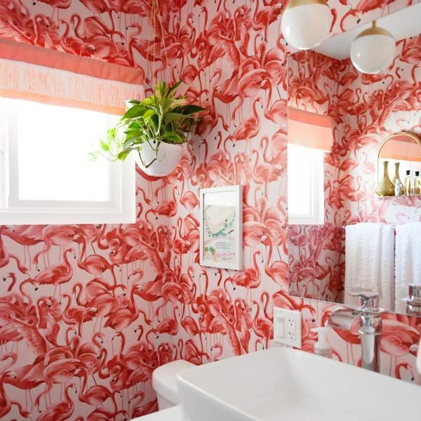 Tempaper Flamingo Cheeky Pink Vinyl Peelable Roll Covers 28 Sq Ft Fl10538 The Home Depot Removable Wallpaper Flamingo Wallpaper Peel And Stick Wallpaper