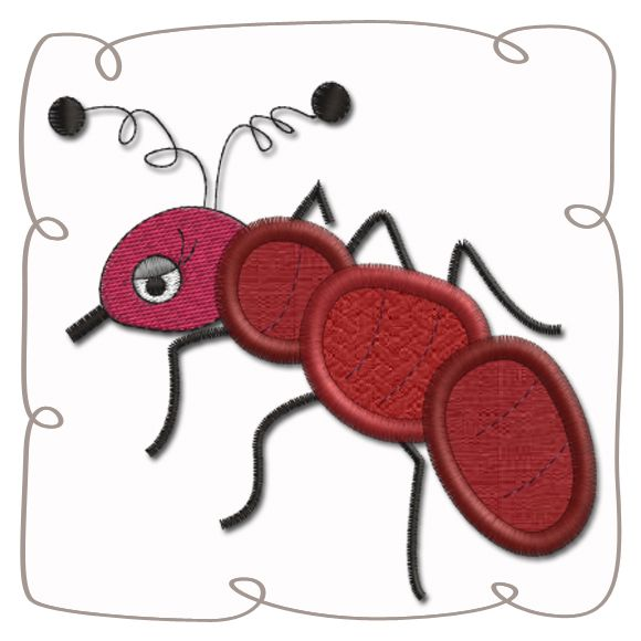 Ant Applique Machine Embroidery Design Pattern-INSTANT DOWNLOAD