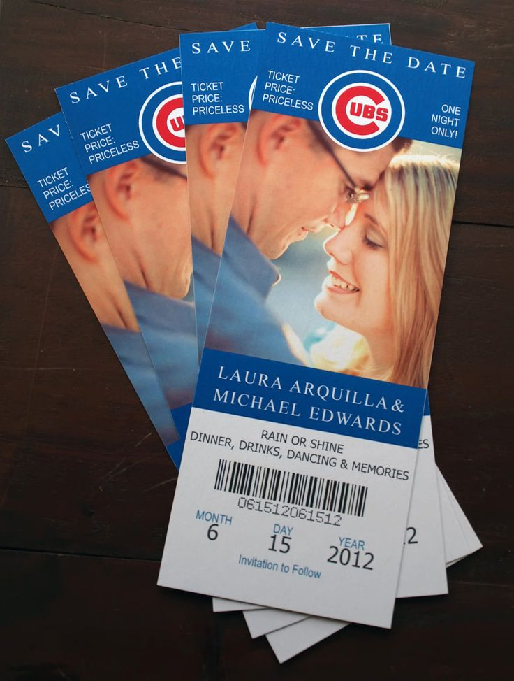 SAVE THE DATES: Wedding Save the Date - Chicago Cubs Ticket. $1.50, via Etsy.