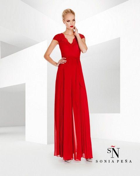 Dvojdielny overal svadobný salón valery, červené šaty, šaty na svadbu, nohavicový kostým, šaty pre nevestu, krátke šaty, overal, požičovňa šiat