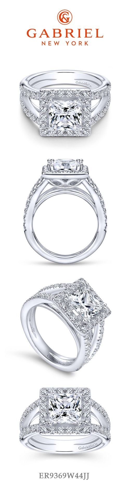 Gabriel - 14k White Gold Princess Cut Halo Engagement Ring with  a split shank band. Find more princess engagement rings here -> https://www.gabrielny.com/engagement-rings/princess-cut-engagement-rings