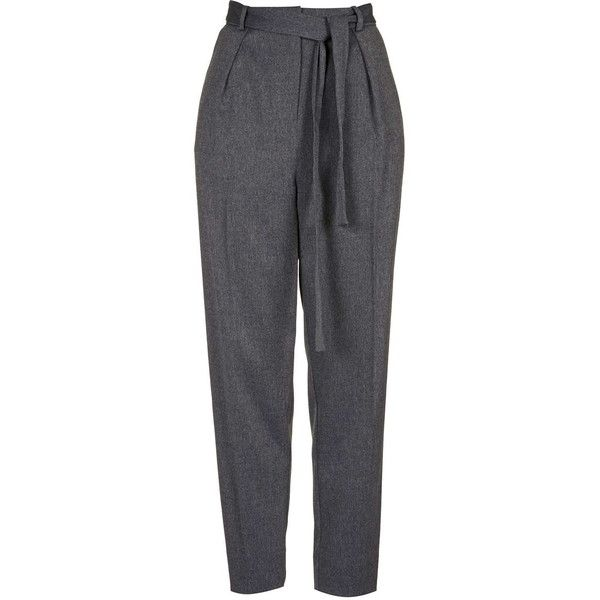 TOPSHOP TALL Flannel Belted Peg Pants ($75) ❤ liked on Polyvore featuring pants, trousers, grey, grey flannel pants, topshop, grey pants, grey trousers and tall pants