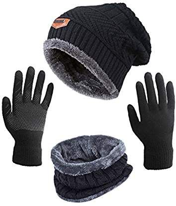 bff0d1c160a HINDAWI Winter Slouchy Beanie Gloves Women Knit Hats Skull Caps Touch Screen