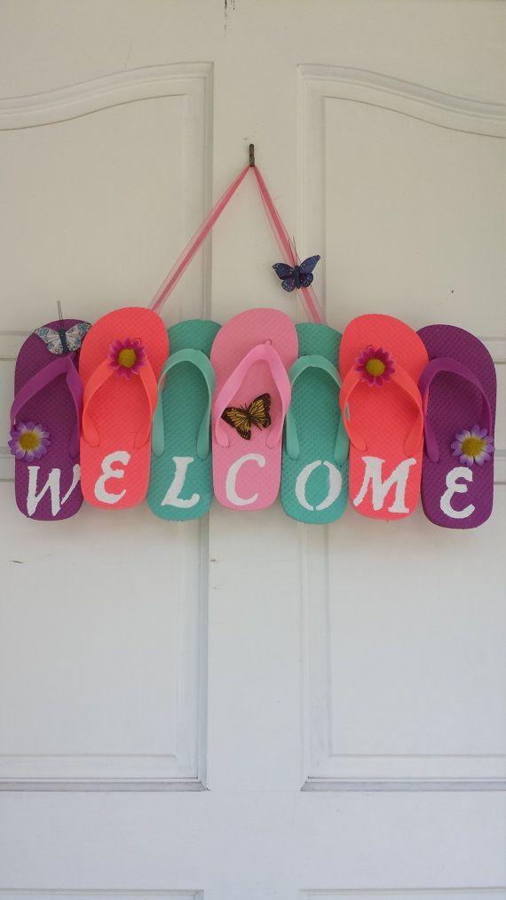 Flip Flop Wreath Welcome Wreath Summer Wreath by ADCMDesign