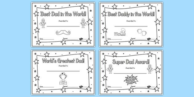 Father's Day Certificates (Colouring) - Father's day card, father's day cards…