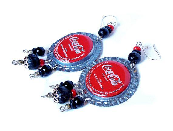 Coca Cola Bottle Cap Earrings. Pendientes de Tapas de Botellas por MarlyHandmade