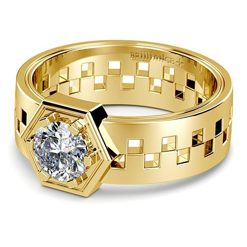 Castor Solitaire Mangagement™ Ring in Yellow Gold - Love is an eternal symbol of the divine, keeping us alive even in the toughest of times. Castor is a symbol of the strength of this love. The offset band is held together by the 1 carat center diamond in a nuts and bolts setting design. Mangagement™ by Brilliance.