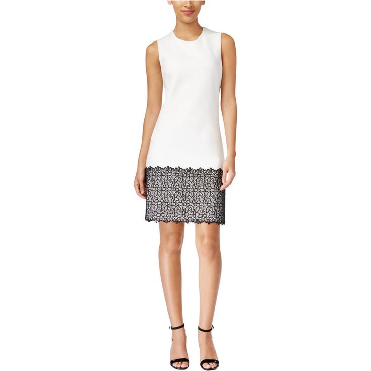 Calvin Klein Womens Petites Lace Trim Sleeveless Casual Dress