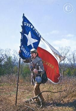 """The Texas Battle Flag"":  The battle flag the 1st Texas Regiment carried into the most ferocious and desperate two hours of the battle of Antietam proudly flew the colors of the State of Texas.  The blood soaked flag was not captured in battle but found by a federal soldier under the body of one of those brave Texas heroes. The flag was returned to the State of Texas in 1909, and hung with honor in the chamber of the Texas House of Representatives until the 1920's.  Print by John Paul Strain"