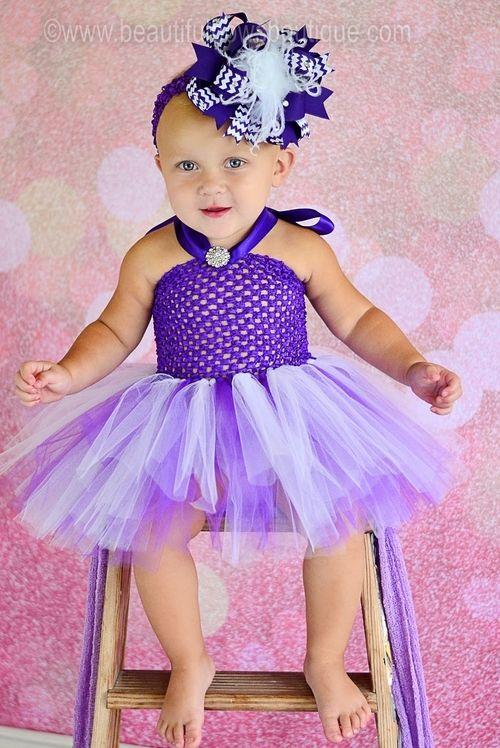 Purple and White Fancy Baby Tutu Dress