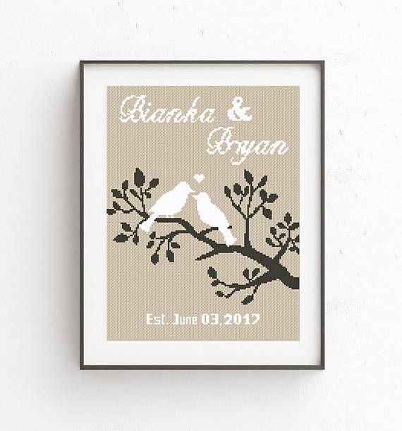 wedding cross stitch pdf printable pattern love birds family