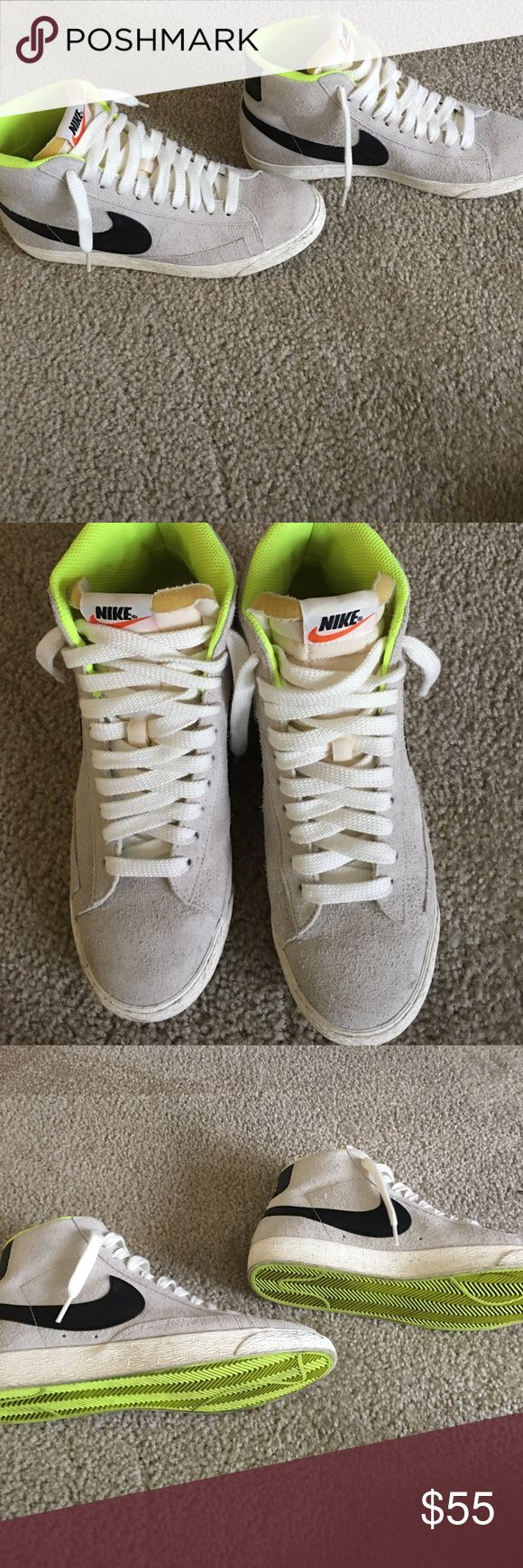 Nike Hi Top Super comfy Nike hi-tops. Grey with highlighter yellow trim. Worn only twice, smoke free home! Nike Shoes Sneakers