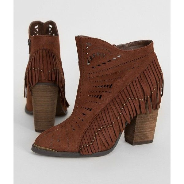 Not Rated Fierce Fringe Ankle Boot - Brown US 10 ($35) ❤ liked on Polyvore featuring shoes, boots, ankle booties, brown, studded booties, not rated boots, fringe booties, fringe bootie and brown fringe booties
