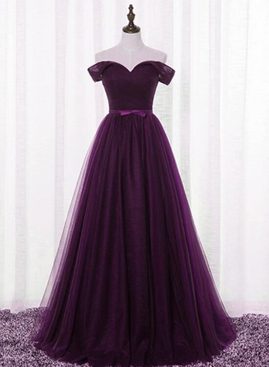 579bee53072d Dark Purple Tulle Off Shoulder Lace-up Formal Gown