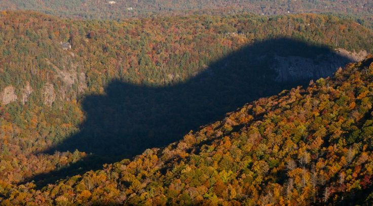 Bear shadow, Blue Ridge Mountains, North Carolina Cashiers is a town located in the center of the Blue Ridge Mountains in North Carolina. For 30 minutes everyday at 5:30 p.m. from late October through early November and again from mid-February to early March, you can see a shadow in the shape of a giant bear. The most incredible natural phenomena around the world