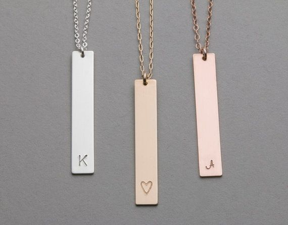 Long Gold, Silver or Rose Gold Necklace with Vertical Bar pendant. Leave the bar blank, or personalize it with an initial or symbol of your