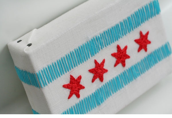 Chicago city flag immortalized in embroidery floss!