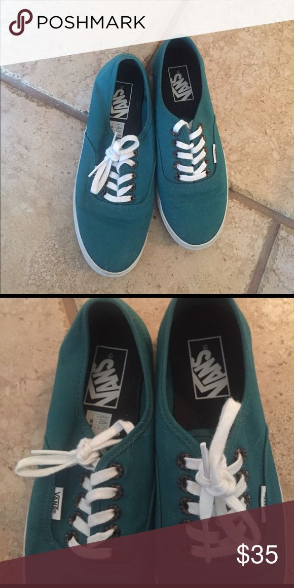 CUTE!!! Teal vans - 7 women- 6.5 Men Cute teal color. The color is so versatile.  I wore them once and they were too small :( Vans Shoes Sneakers