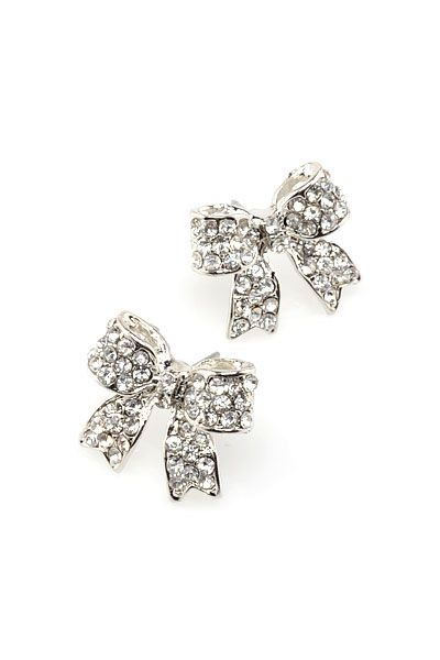 "Cyrstal Bow Post Earrings $12 -- Girly silver ribbon bow post earrings with clear crystal pave studs. ♥ 0.5"" H x 0.75"" W (13mm x 19mm). ♥ Nickel and lead compliant."