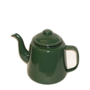Falcon Enamel Tea Pot Green 12cm. Sturdy enamel tableware range, for all occasions. Vitreous double coated enamel. Free Delivery on orders over £50.00.