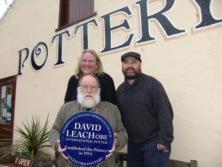 Blue Plaque awarded to David Leach who founded the pottery in 1954. Guest of honour was his son the potter John Leach. Also in pic are Alan Parris and Billy Byles the potters who run Aylesford Pottery today. 20 February 2015.