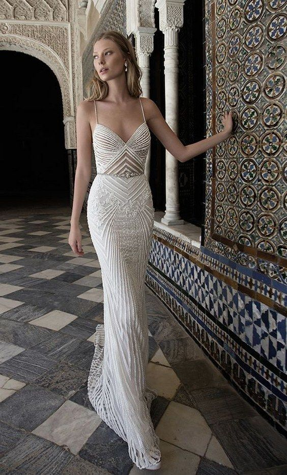 spaghetti strap wedding dress with feminine neckline and ridged textured fabric via alon livne