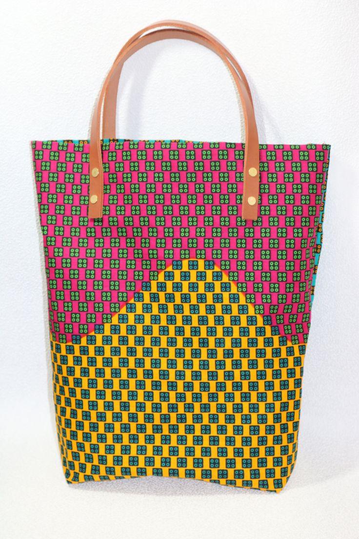 Sac. African. Bag. wax. Anses en cuir. 100% coton. Leather. Tote bag
