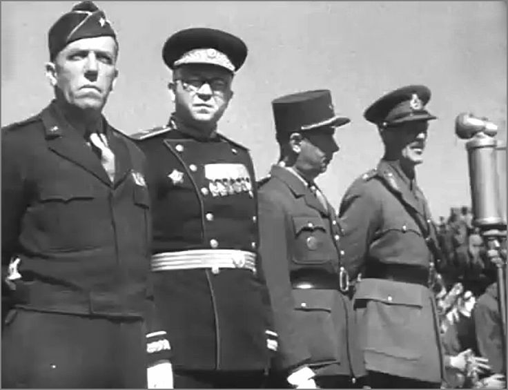Allied Victory Parade in Berlin: 8 May 1946. L to R: Maj Gen Frank A. Keating (USA), Aleksandr Kotikov (Russia), Brig Gen Charles Lan?on (France) and Maj Gen Eric P. Nares (UK) 1946.05.08 foto4