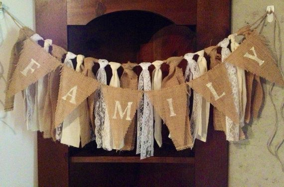 Burlap Muslin Lace Ribbon Garland on Jute for by BloominBOWtique