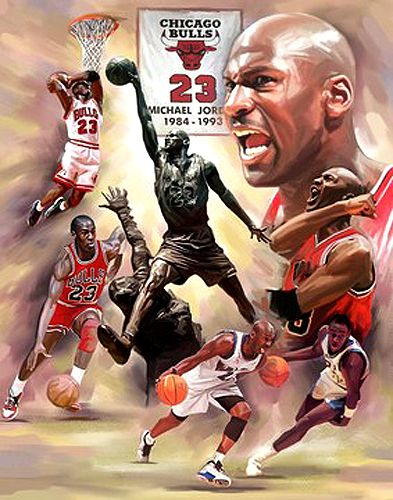 Michael Jordan Fresh Air Chicago Bulls Premium Art Print Poster by Wishum Gregory