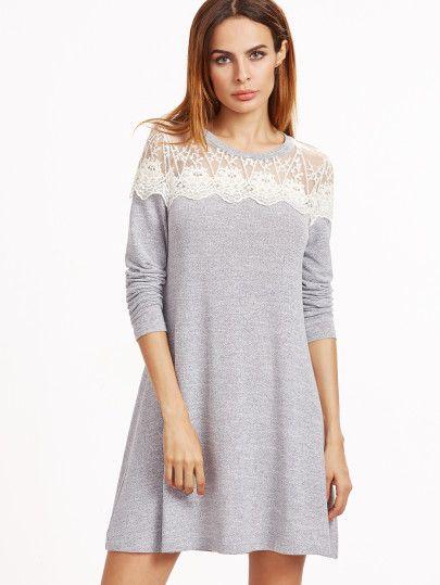 Grey Contrast Lace Shoulder A Line Dress