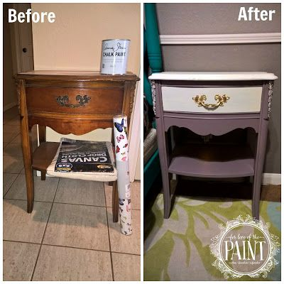 Before and After : Vintage French Provincial Nightstand in Emile and Pure White - with Tutorial by For Love of the Paint! DIY, upcycle, chalk paint, Annie Sloan