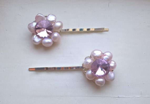 Pearl Hair Pins Pink Hair Pins Bridal Hair Pins by Glitterperlen