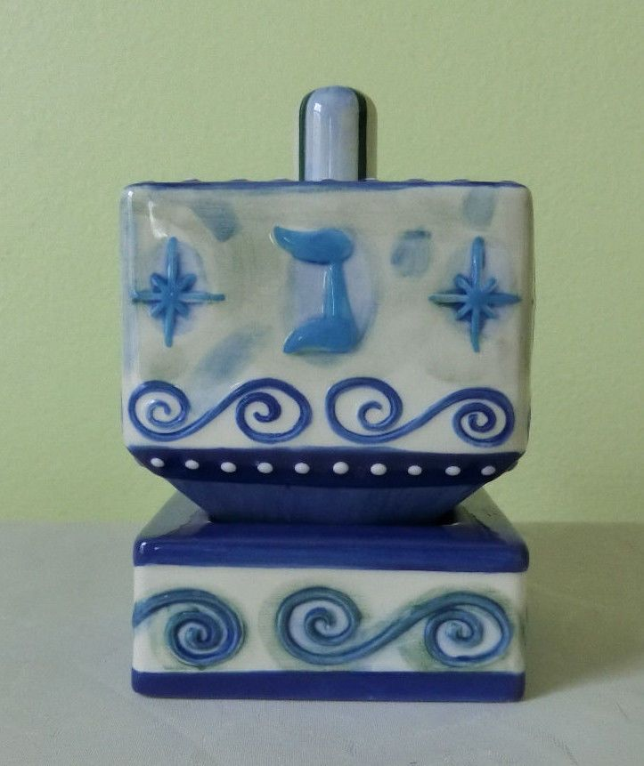 Porcelain Jewish Hanukkah Dreidel w/Base Collectors Israel Blue & White Holiday