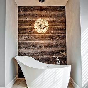 Madison Taylor Design - bathrooms - plank wall, planked wall, bath nook, bathroom nook, tub nook, bathtub nook, bathtub chandelier, tub chandelier, chandelier over bathtub, accent wall, bath accent wall, bathroom accent wall, planked wall, wood plank wall, wood planked wall, freestanding bathtub, modern bathtub, modern freestanding bathtub, floor mount tub filler, bathtub filler, off set tub filler, wood wall, wood accent wall,