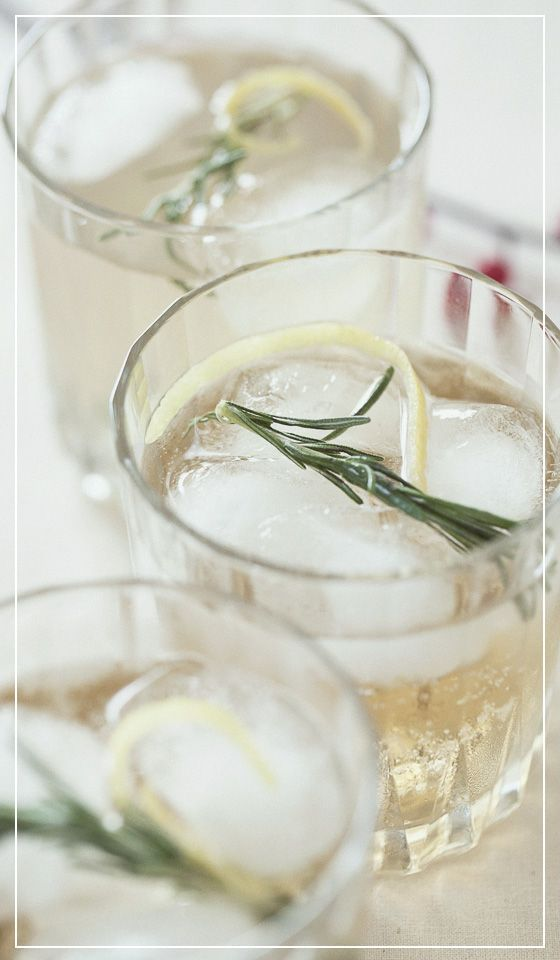 Bourbon Rosemary Fizz. Yum! BTW, rosemary syrup is super easy to make. Throw four or five sprigs in equal parts sugar and water (1 cup each) and heat over medium until sugar dissolves. Cool and store in the fridge.