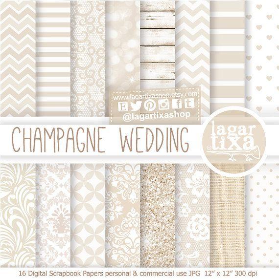 Champagne Wedding Digital Paper Invitations white glitter Background chevron polka dots lace distressed wood linen by Lagartixa