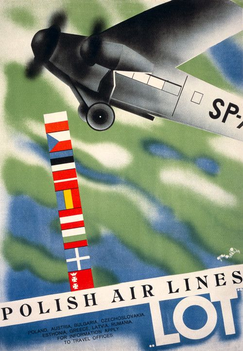 """LOT Polish Air Lines. A LOT Polish Airlines plane takes flight in this vintage travel poster from 1931. """"Poland, Austria, Bulgaria, Czechoslovakia, Esthonia, Greece, Latvia, Rumania. For information apply to travel offices."""" Illustrated by Tadeusz Gronowski."""