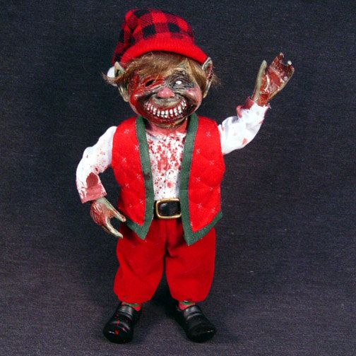Zombie elf Christmas decoration, check! (Because not even zombies ...