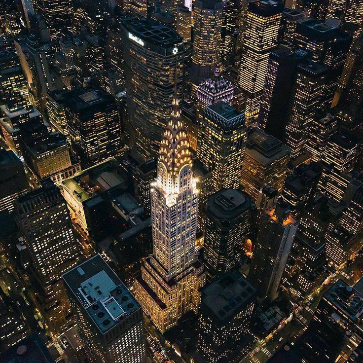 The Chrysler Building glowing