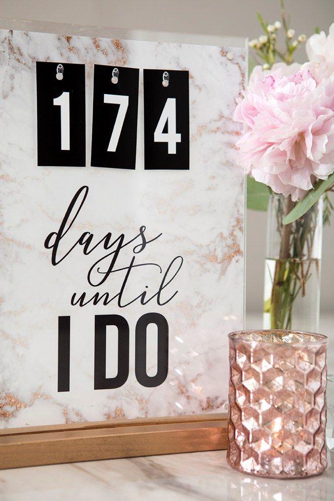 This Diy Wedding Countdown Sign Has Free Printable Files Wedding Countdown Countdown Sign Diy Wedding
