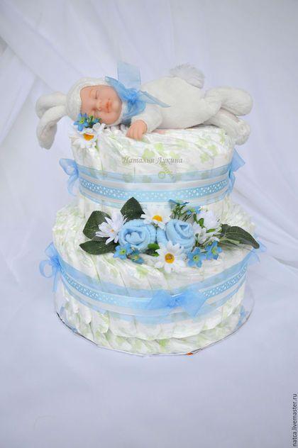 """Подарки для новорожденных, ручной работы. Ярмарка Мастеров - ручная работа. Купить Торт из памперсов  """"Зайкин сон"""". Handmade. Голубой"""