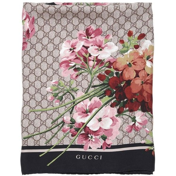 GUCCI Geranium & Logo Printed Silk Twill Scarf - Beige/Pink (565 AUD) ❤ liked on Polyvore featuring accessories, scarves, pink shawl, gucci scarves, pink scarves, gucci shawl and gucci