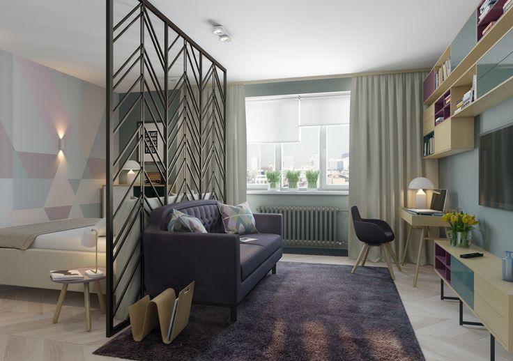 Пастельная палитра в отделке стен, мягкая мебель плавных форм, натуральные ткани, приятные на ощупь – небольшая спальня-гостиная предназначена для активной современной девушки и располагает к отдыху