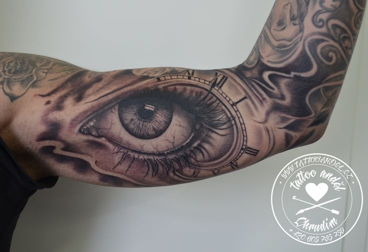 eye tatto cover up - black and gray work