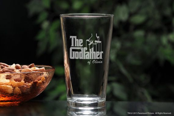 """A great godparent gift - this one pint (16oz) customized beer glass is perfect for the Godfather who has a beer with dinner - hell see his Godchilds name every time he takes a drink! Makes a unique baptism gift and christening gift or will make a great gift for Father's Day, Christmas or a birthday. 