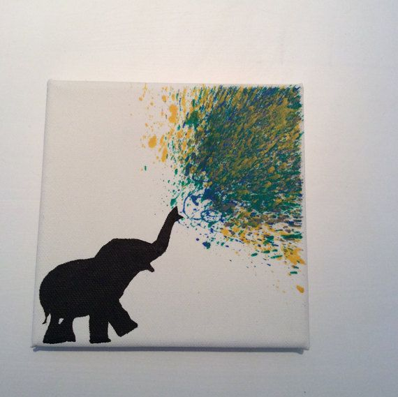 Melted Crayon Art  Elephant Blowing Water by TreatYourselfCrafty                                                                                                                                                                                 More