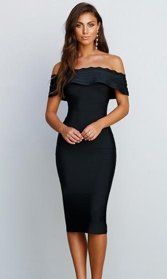 24ae4caff1 Modern Icon Black Off The Shoulder Fold Over Ruffle Bodycon Bandage ...
